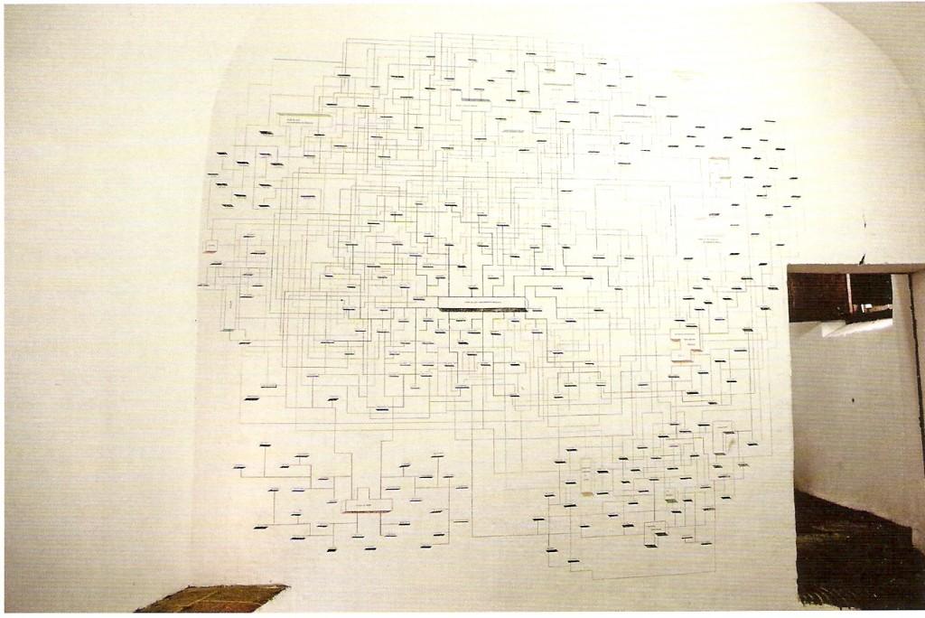 Lápis de cor e tinta acrílica sobre madeira, (1 tríptico unido por elos que formam 1 único objeto),  180x500 cm