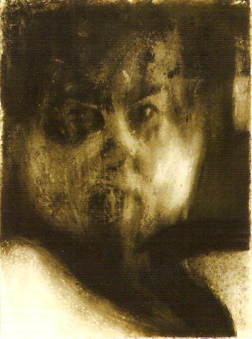 Óleo sobre papel, cinza e carvão, 76,5x56 cm